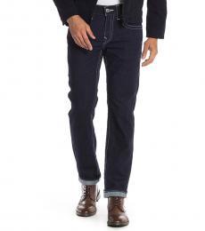 True Religion Navy Blue Geno Topstitched Slim Fit Jeans