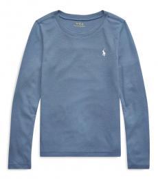 Ralph Lauren Girls Capri Blue Long-Sleeve T-Shirt