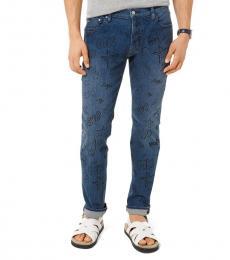 Michael Kors Indigo Parker Slim-Fit Printed Jeans