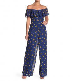 Betsey Johnson Blue OffShoulder Marigold Buds Jumpsuit