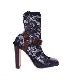 Black Lace Snake Print Heels