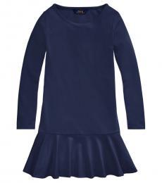 Ralph Lauren Girls French Navy Ponte Drop-Waist Dress