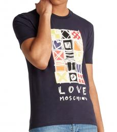 Navy Blue Tetris Slim T-Shirt