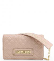 Love Moschino Light Pink Logo Strap Small Crossbody