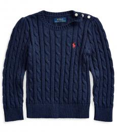 Little Girls Spring Navy Cable-Knit Sweater