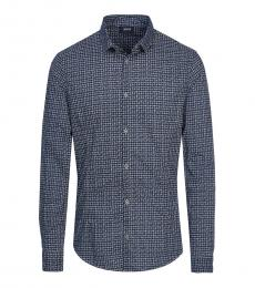 Armani Jeans Dark Blue Checkered Classic Shirt