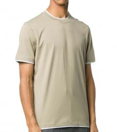 Olive Two-Tone Plain T-Shirt