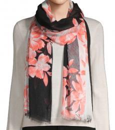 Calvin Klein Peach-Black Floral Vine Scarf