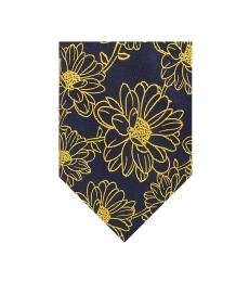 Ted Baker Navy-Yellow Daisy Silk Slim Tie