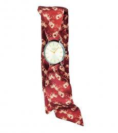 Brown Satin Scarf Wrap Watch