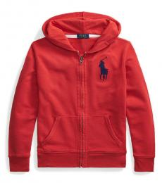Boys Red Big Pony French Terry Hoodie