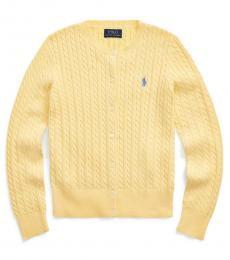 Ralph Lauren Girls Butter Cream Cable-Knit Cardigan