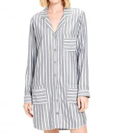 BlackWhite Striped Pocket Nightshirt