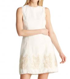Vince Camuto White Frayed Trim Tweed Fit & Flare Dress