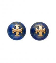 Tory Burch Blue Logo Pearl Stud Earrings