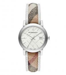 Burberry Beige Silver Haymarket Watch