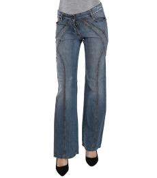 Just Cavalli Blue Washed Cotton Flared Denim Jeans