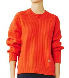Tory Burch Red Ribbed Merino Sweater
