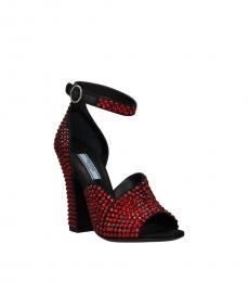 Prada Red Rhinestone Embellished Heels