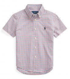 Ralph Lauren Little Boys Red Plaid Poplin Shirt
