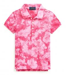 Ralph Lauren Little Girls College Pink Tie-Dye Mesh Polo