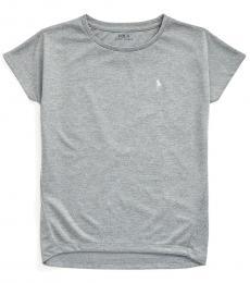 Ralph Lauren Girls Andover Heather Interlock Crewneck T-Shirt