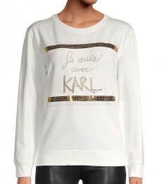 Karl Lagerfeld White Gold Embellished Cotton-Blend Sweatshirt