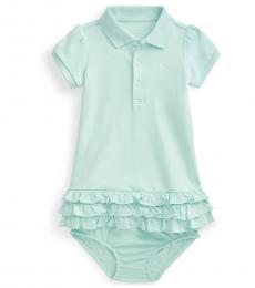 Ralph Lauren Baby Girls Crystal Blue Ruffled Polo Dress