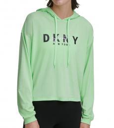 DKNY Spearmint-Sport Script-Logo Hoodie T-Shirt