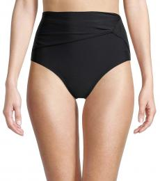 DKNY Black Draped High-Rise Bikini Bottom