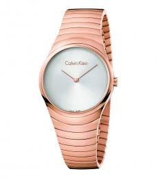 Rose Gold Whirl Silver Dial Watch