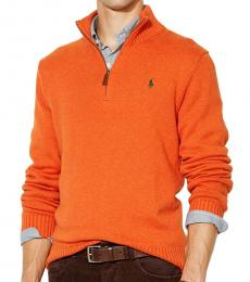 Orange Half-Zip Sweater