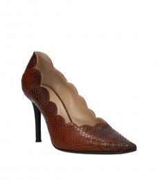 Brown Snake Print Scallop Edge Mid Heels