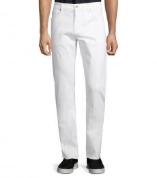 7 For All Mankind White Slim Straight-Leg Jeans