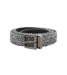 Dolce & Gabbana Black White Chevron Wool Belt