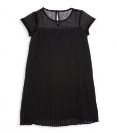 Girls Black Lace Pleated Dress