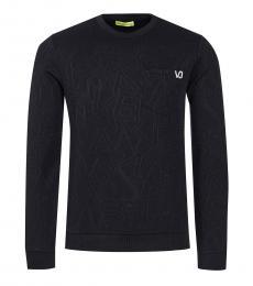 Black Logo Solid Sweater