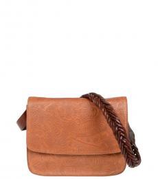 Brown Woven Strap Medium Crossbody