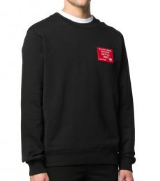 Black Cotton Logo Patch Sweatshirt