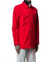 Red Logo Print Shirt Jacket