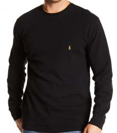 Ralph Lauren Black Piping Waffle Thermal Sweater