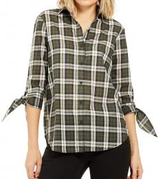 Olive Cotton Plaid Tie-Sleeve Shirt