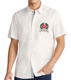 Optical White Embroidered Crest Shirt