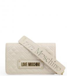 Love Moschino White Logo Strap Small Crossbody