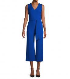 Karl Lagerfeld Electric Blue Tie-Waist Jumpsuit