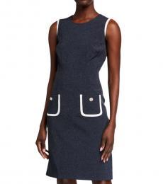 Dark Grey Patch-Pocket Sheath Dress