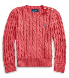 Little Girls Geranium Cable-Knit Sweater