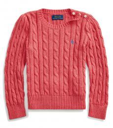 Ralph Lauren Little Girls Geranium Cable-Knit Sweater