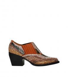 Chloe Orange Rhinestone Ankle Boots