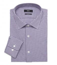 Hugo Boss Purple Sharp-Fit Plaid Dress Shirt